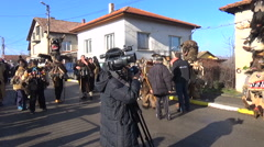 Local people gather for Surva carnival celebration - stock footage