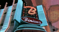 Snap zooms of Binion's casio entrance neon lights Stock Footage