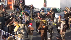 Bulgarian mummers gather for Surva ritual Stock Footage