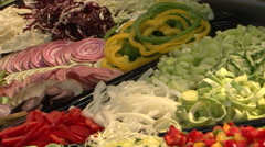 Diversity of vegetables sliced  and chopped Stock Footage