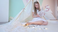 Little girls dressed in white pillow fight. Stock Footage