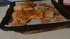 Ram Shaped Angel Shaped Cookies Baked Biscuits Placed on a Baking Tray with a Stock Footage