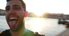 Young Cheerful Tourist Man in Ribeira District, Porto, Portugal Stock Footage