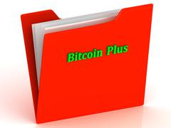 Bitcoin Plus- bright green letters on a gold folder on a white background Stock Illustration