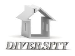 DIVERSITY- inscription of silver letters and white house on white background - stock illustration