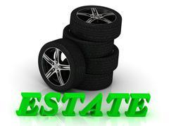 ESTATE- bright letters and rims mashine black wheels on a white background Stock Illustration