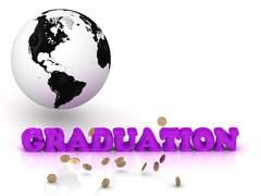 GRADUATION- bright color letters, black and white Earth on a white background - stock illustration