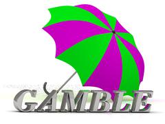 Stock Illustration of GAMBLE- inscription of silver letters and umbrella on white background..