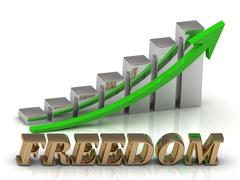 FREEDOM- inscription of gold letters and Graphic growth and gold arrows on wh Stock Illustration