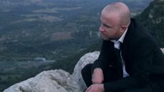 Sad man in black tie, funeral Stock Footage