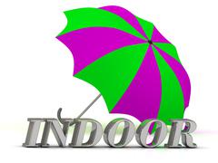 INDOOR- inscription of silver letters and umbrella on white background.. Stock Illustration