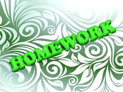 HOMEWORK - bright color letters on nice green ornament background Stock Illustration