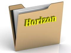 Horizon- bright color letters on a gold folder on a white background - stock illustration