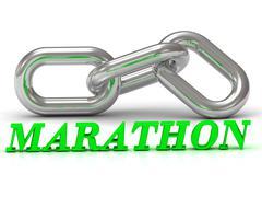 MARATHON- inscription of color letters and Silver chain of the section on whi - stock illustration