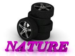 NATURE- bright letters and rims mashine black wheels on a white background - stock illustration