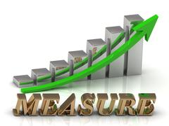 MEASURE- inscription of gold letters and Graphic growth and gold arrows on wh Stock Illustration