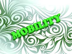 MOBILITY- bright color letters on nice green ornament background - stock illustration