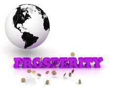 Stock Illustration of PROSPERITY- bright color letters, black and white Earth on a white background