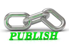 PUBLISH- inscription of color letters and Silver chain of the section on whit Stock Illustration