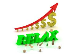 RELAX- bright color letters and graphic growing dollars and red arrow on a wh - stock illustration