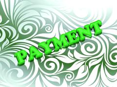 PAYMENT- bright color letters on nice green ornament background - stock illustration