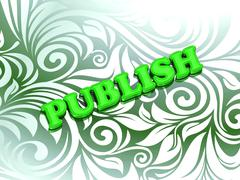PUBLISH - bright color letters on nice green ornament background - stock illustration