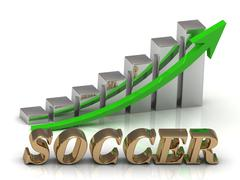 SOCCER- inscription of gold letters and Graphic growth and gold arrows on whi - stock illustration