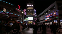 Fremont Street Experience crowds at night Stock Footage