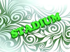 STADIUM- bright color letters on nice green ornament background - stock illustration