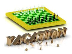 VACATION- bright gold letters money and yellow chess on white background - stock illustration