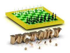 VICTORY- bright gold letters money and yellow chess on white background - stock illustration