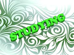 Stock Illustration of STUDYING- bright color letters on nice green ornament background