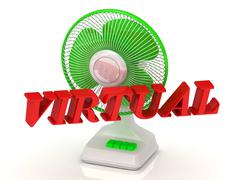 VIRTUAL- Green Fan propeller and bright color letters on a white background Stock Illustration