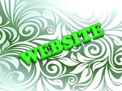 WEBSITE- bright color letters on nice green ornament background - stock illustration