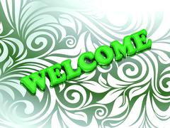 WELCOME- bright color letters on nice green ornament background - stock illustration