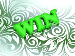 WIN- bright color letters on nice green ornament background - stock illustration