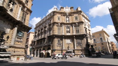 Quattro Canti intersection in Palermo, Sicily, Italy. East Quarter. Stock Footage
