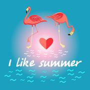 Stock Illustration of Background with flamingos and a slogan about summer