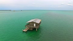 Aerial 4K Stiltsville Stilt Houses Cape Florida in Key Biscayne, Florida - stock footage
