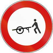 Road sign used in Italy - handcarts not allowed - stock illustration