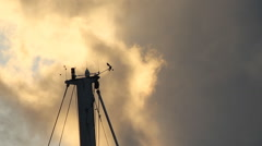 Boat mast with Weathervane, Anemometer and clouds. - stock footage