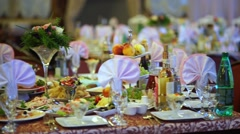 Beautifully laid tables for a wedding Banquet 2 Stock Footage
