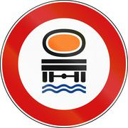 Stock Illustration of Road sign used in Italy - vehicles transporting water pollutants prohibited