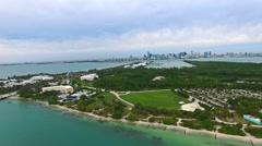 Aerial 4K Virginia Key Beach Park in Key Biscayne, Florida - stock footage