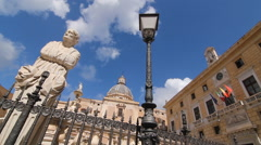 Sculpture, lamp and town hall in Piazza Pretoria, Palermo. Stock Footage