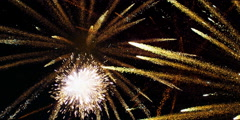 Several white and gold fireworks burst, raining down silver and gold sparks Stock Footage