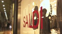 "Inscription ""sale"" on a shop window in Italy. 4K Stock Footage"