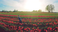 Slow motion aerial view portrait of young boy running in a field of tulips, Stock Footage