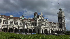 Dunedin Railway Station, New Zealand - stock footage