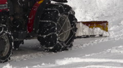 Winter: Tractor Pushing Snow in Heavy Storm Stock Footage